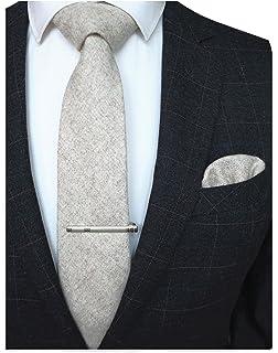 c495c1fa84fd RBOCOTT Solid Color Wool Tie and Pocket Square, Tie Clip Set for Men