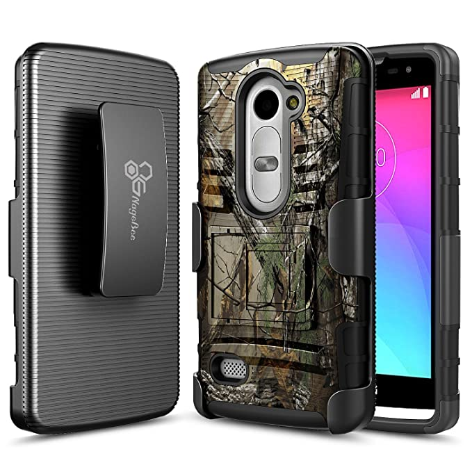 LG Sunset L33L Case, NageBee - LG Sunset L33L - Advanced Armor Hard Hybrid Case Cover Military Stand Holster Locking Belt Swivel Clip Combo Case for ...