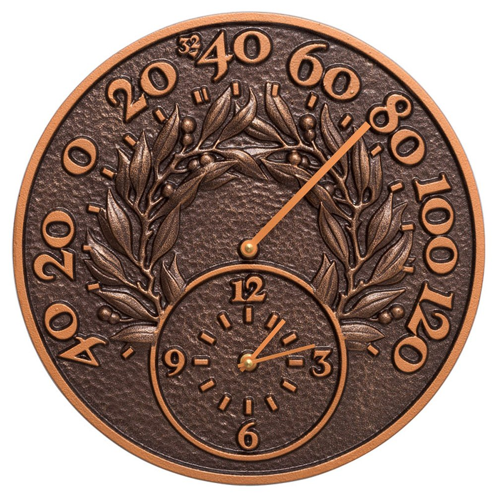 Whitehall 14 in. Indoor Outdoor Wall Clock and Thermometer in Copper by Whitehall