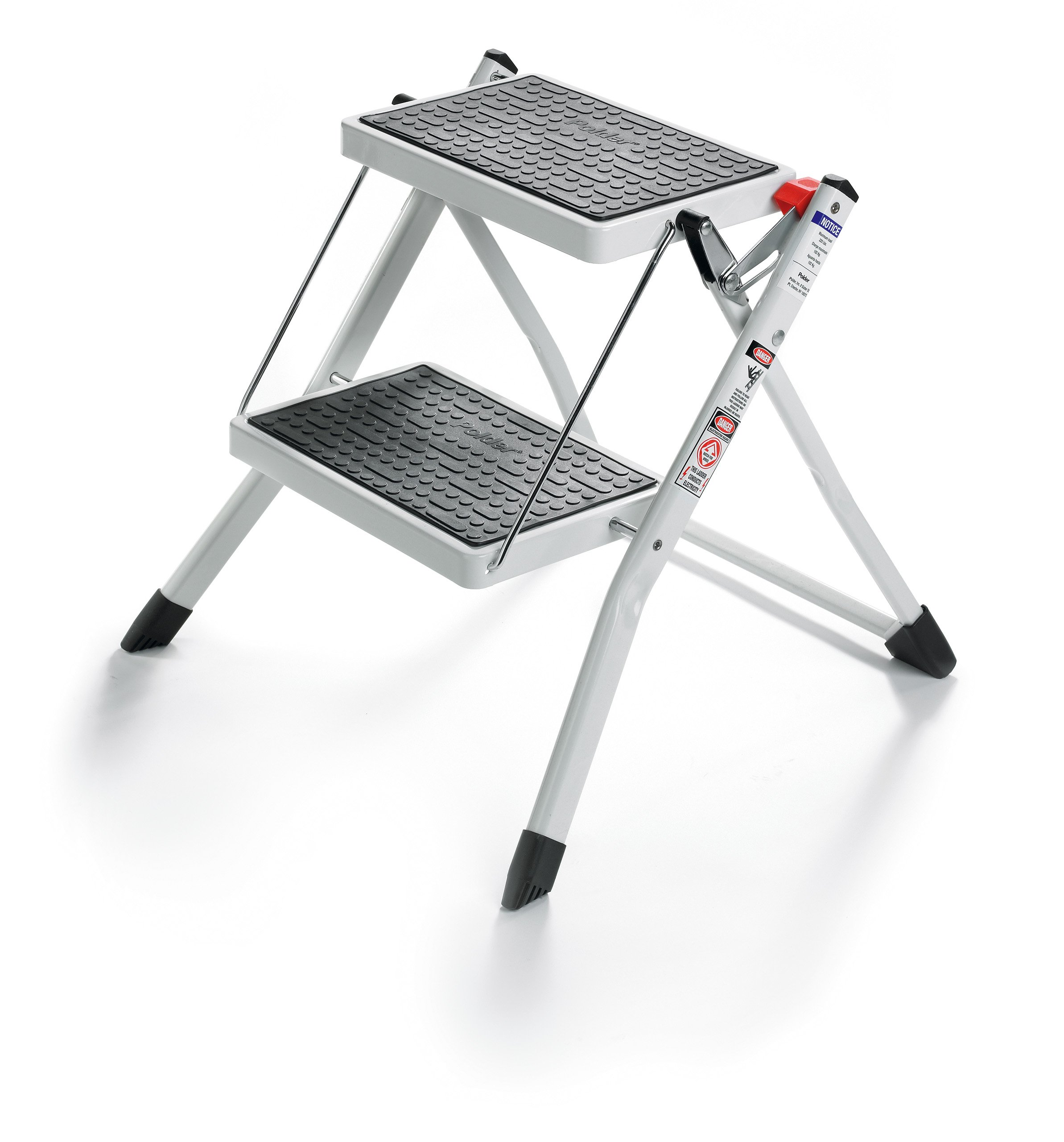 Polder 90401-91H Mini 2-Step Stool, 17'' High, 225 lb. (102 kg.) Capacity, White