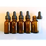 FIVE 20ml Amber Brown Glass Bottles with Dropper Pipettes