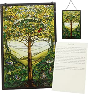 Ebros Louis Comfort Tiffany Northrop Memorial Window Collection Tree of Life Stained Glass Art Decor