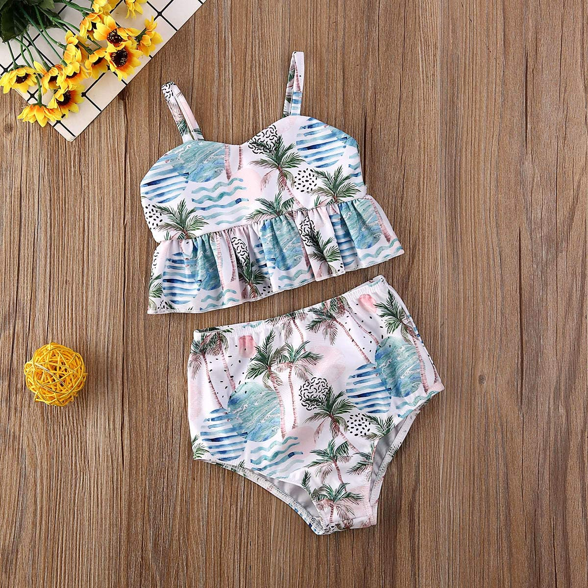 WGOO Toddler Baby Girls Swimsuit Two Piece Floral Ruffle Halter Tops Bowknot Bottom Beachwear Bathing Suit