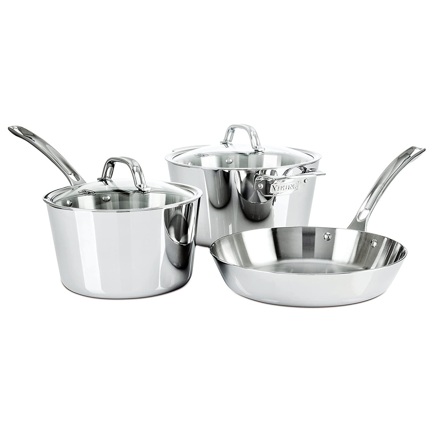 Amazon.com: Viking Contemporary 3 Ply Stainless Steel Cookware Set, 5  Piece: Kitchen U0026 Dining