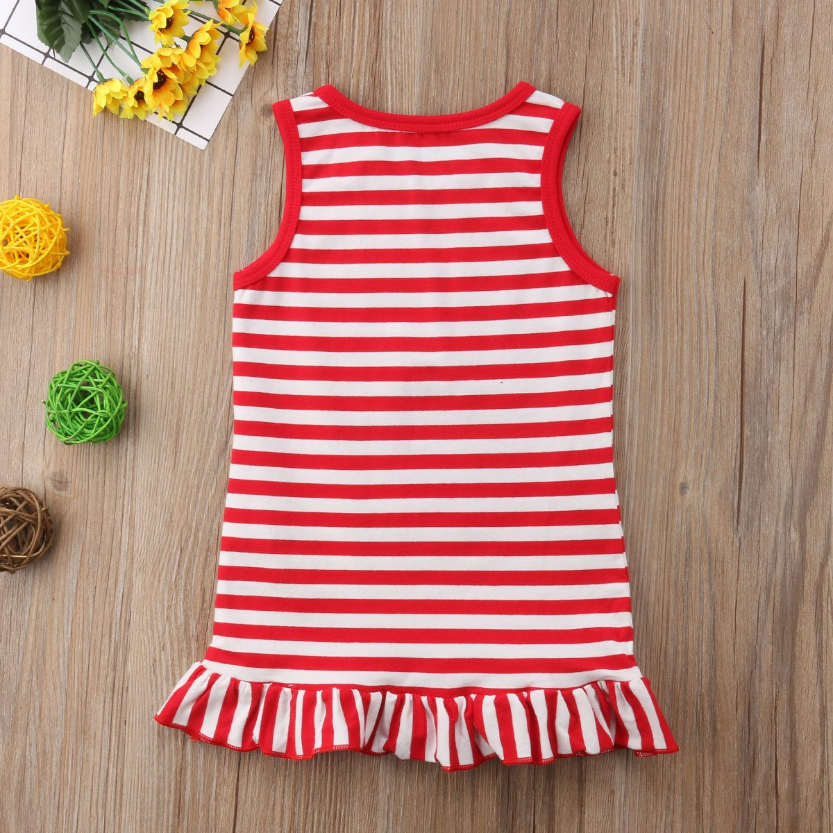 One Persent Baby Girls Cotton Ruffle Sleeveless Mini Dress Overall Sundress Playwear Outfit Clothes