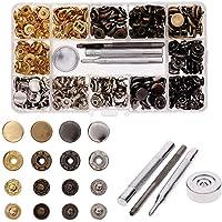Daseey 120 Conjunto de Couro Snap Fasteners Kit 12,5 mm Botões de metal Botões de pressão com 4 Setter Ferramentas para…