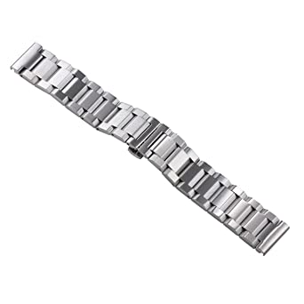 f41495988bcfa Image Unavailable. Image not available for. Color: 20mm Silver Brushed Luxury  316L Solid Stainless Steel Metal Watch Straps Bracelets ...