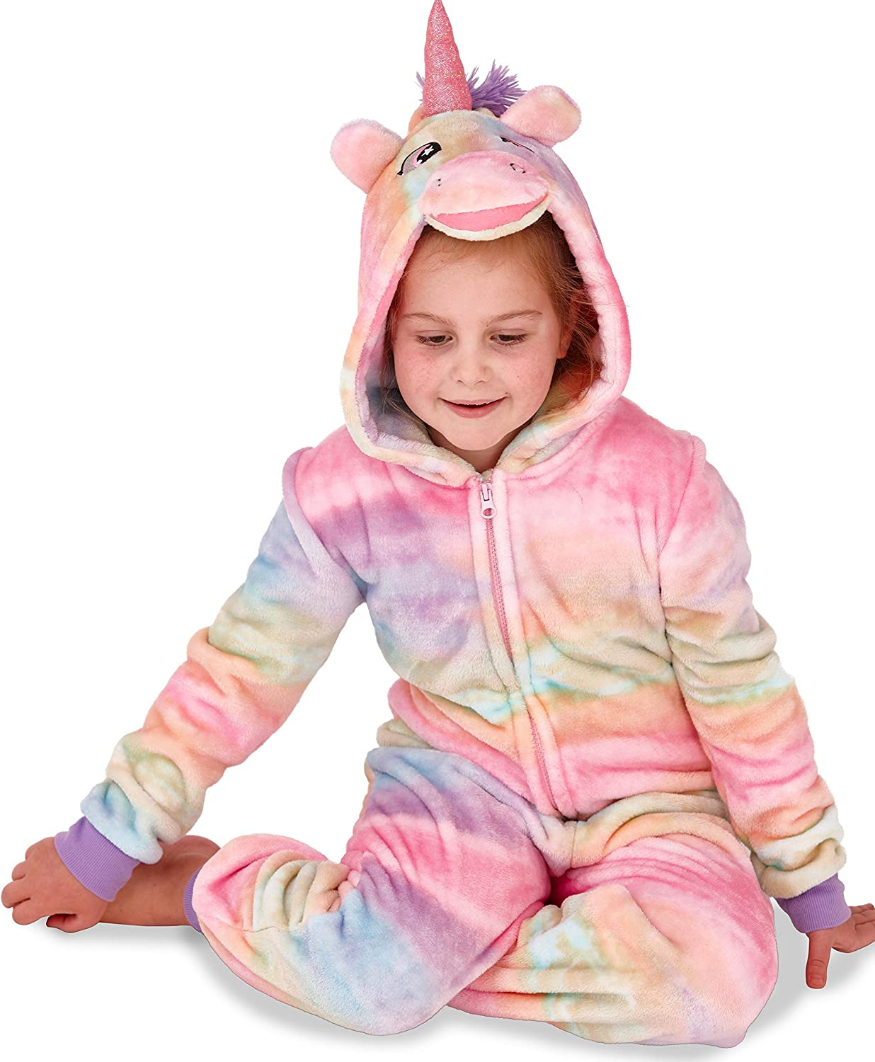 Kids Girls Teenagers Super Soft Unicorn All in One Onesie with 3D Horn and Mane 11//12 Aqua//Pink