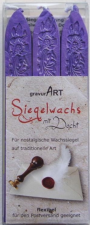 3 St/ück / Lilac Manuscript Siegelwachs mit Docht/