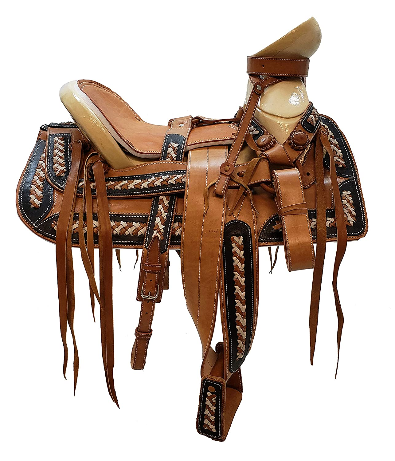 Amazon.com : Mexican Charro Horse Saddle Leather Brown/Tan ...