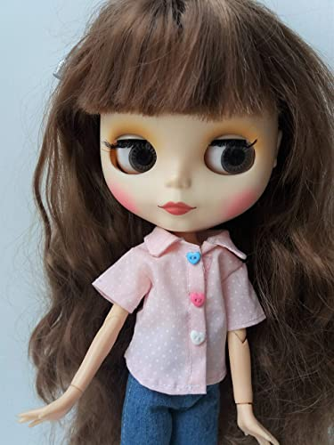 handmade Blythe pink Shirt Blythe blouse Neo Blythe top