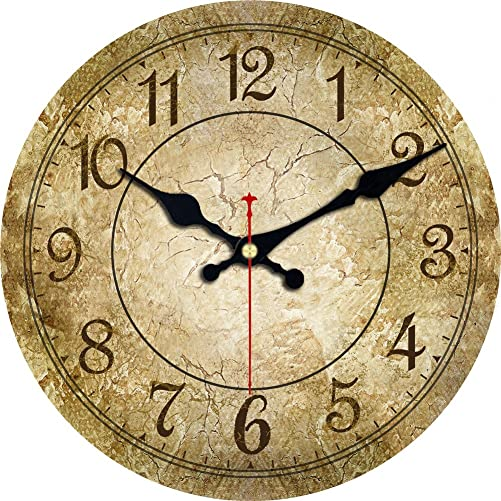 ShuaXin Large 16 Inch Brown Wall Clocks,Home Decor Wood Arabic Numerals Wall Clock,Simple Antique Classic Decorative Wall Clock for Office,Study Room