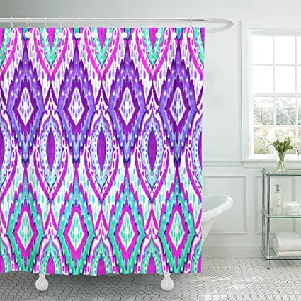 Attractive VaryHome Shower Curtain Ikat Pattern With Paisley Colorful And Symmetric  Composition For Interior Missoni Aztec Waterproof