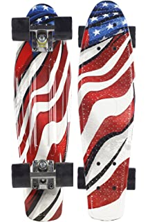 Waveline Skate Skateboard Complete 22 inch Cruiser for Kids Youth Beginners Plastic Retro Style PU Wheels
