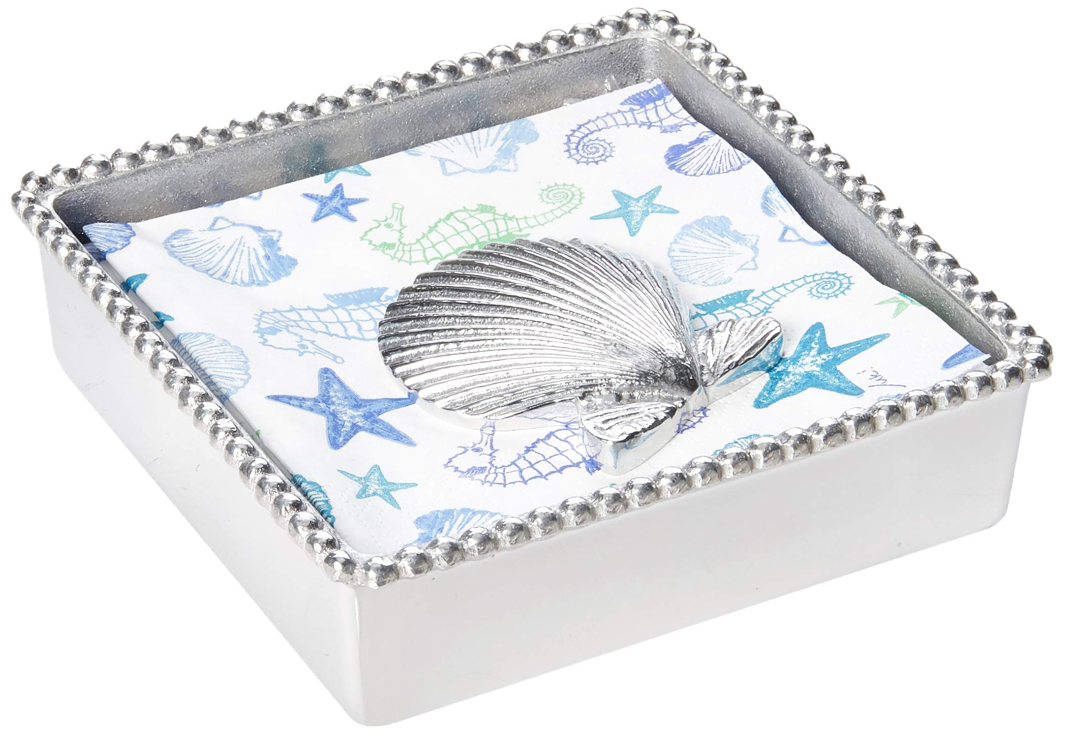 Mariposa Scallop Shell Beaded Napkin Box by MARIPOSA