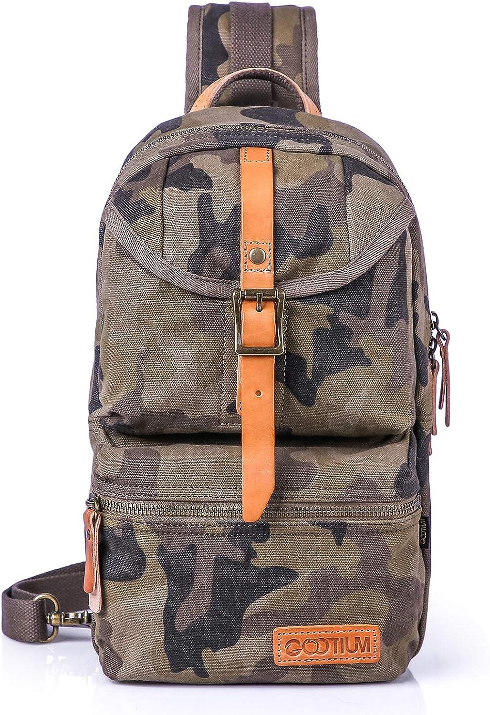 Gootium Sling Bag – Canvas Crossbody Daypack Small Backpack