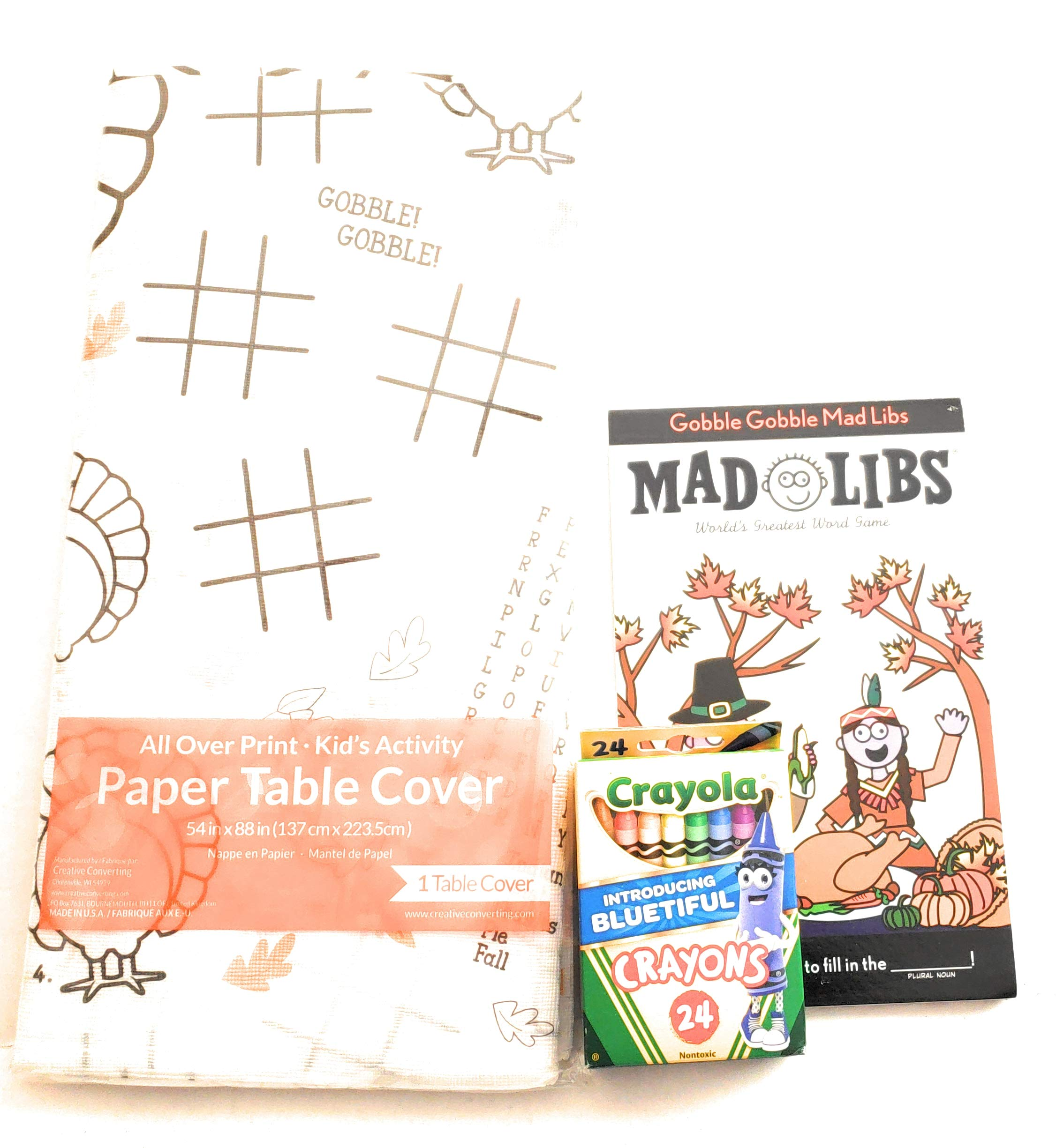 Kids Activity Tablecloth, Gobble, Gobble Mad Libs & Crayons Set, for Thanksgiving, Kids Table Idea, Children's Table Cover, includes table cloth, Mad Libs Book and Crayons for coloring by Various