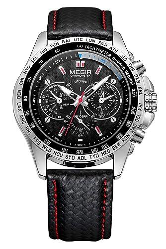 MEGIR - Reloj Análogico de Pulsera para Hombre Waterproof Correa de Piel Moderno - Negro: Amazon.es: Relojes