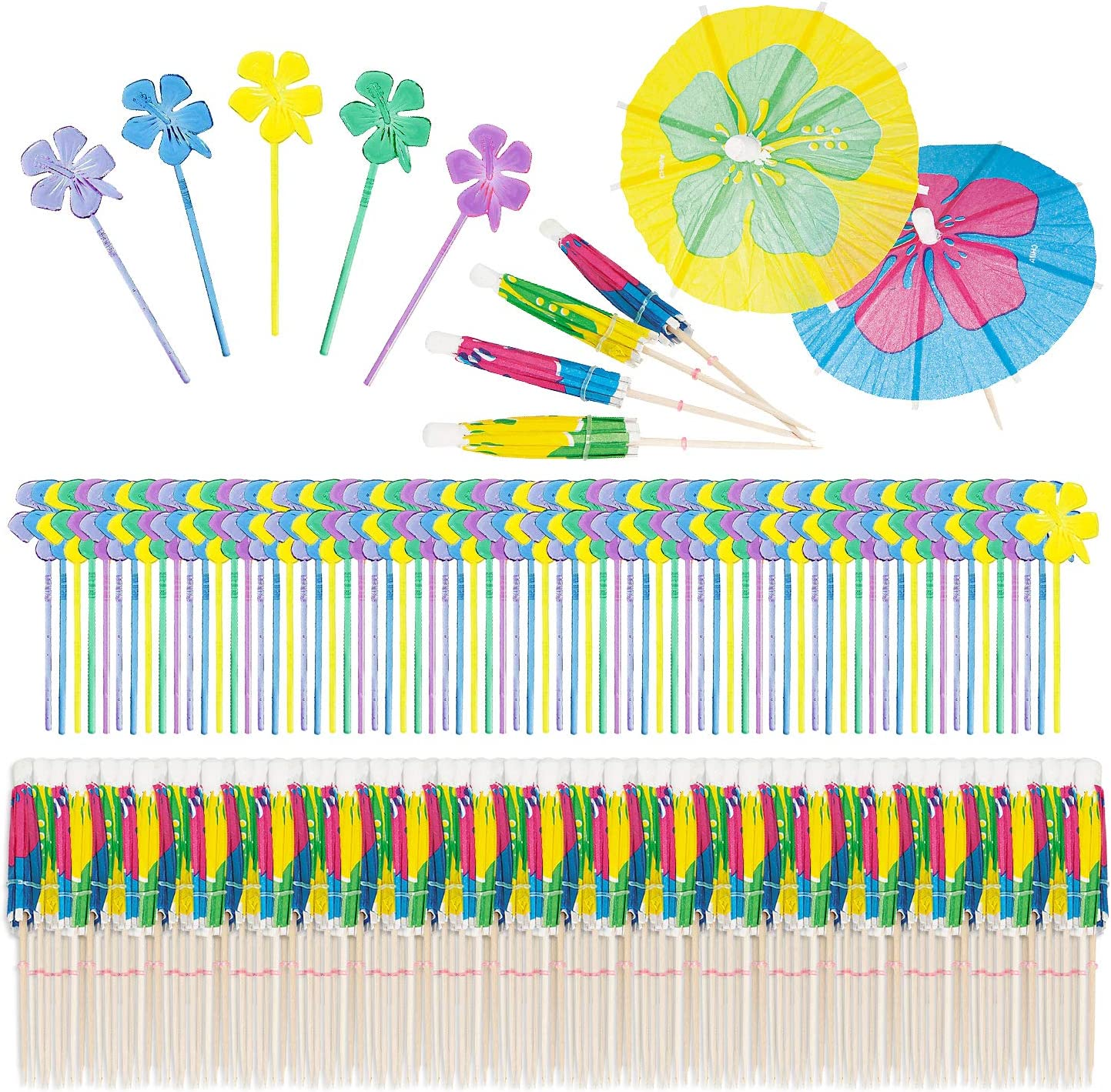 Cocktail Umbrellas and Food Picks for Luau Party - 144 count Umbrellas and 72 Food Picks (Hibiscus Flower Pattern)