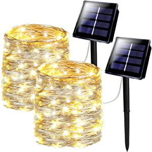 SANJICHA Solar String Lights, Upgraded Brightness 2 Pack 200 LED Silver Wire Solar Lights Outdoor, Waterproof 8 Modes Fairy Lights for Wedding Patio Garden Yard Tree Party (Warm White)