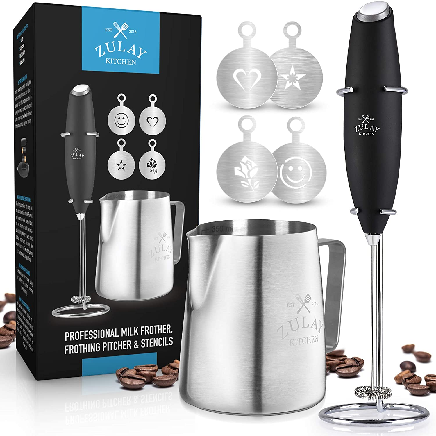 Zulay High Powered Milk Frother COMPLETE SET - Handheld Foam Maker for Lattes - Great Whisk Drink Mixer for Bulletproof® Coffee, Mini Blender and Foamer Perfect for Cappuccino, Frappe, Matcha, Hot Chocolate by Milk Boss - Includes Frother, Coffee Decorating Stencils and Frothing Cup.