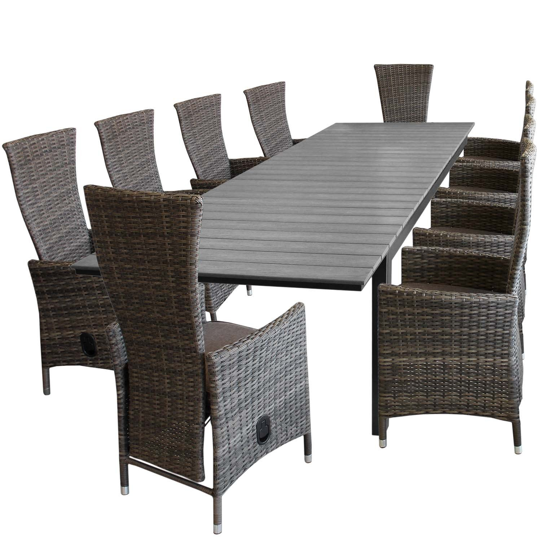11tlg Gartengarnitur Aluminium Polywood Ausziehtisch Gartentisch
