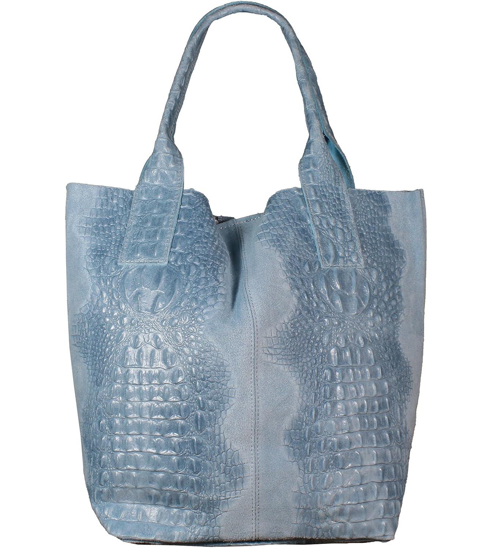 Freyday Damen Echtleder Shopper mit Schmucktasche in vielen Farben Schultertasche Henkeltasche Handtasche Metallic look B07CK8D36M Shopper Bestellung willkommen