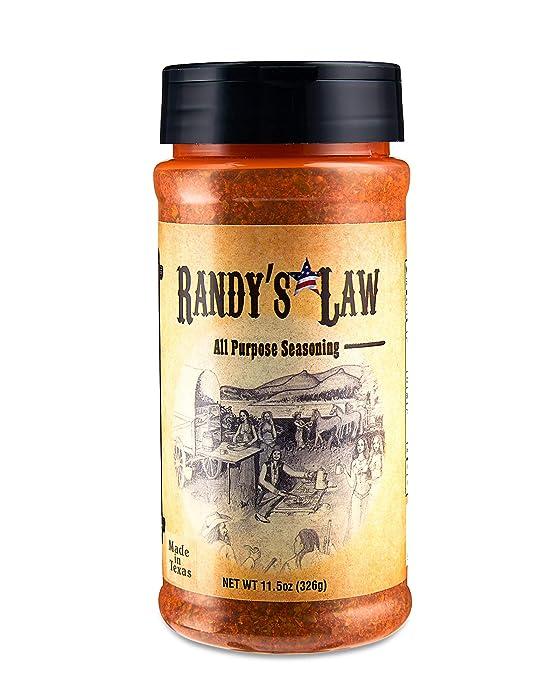 Randy`s Law All Purpose Texas Food Seasoning, Dry Rub and Marinade | Brisket, BBQ, Steaks, Burgers, Pork, Chicken Wings, Fish, Shrimp, Scallops, Tofu, Chili, Soups, Veggies, Potatoes and more
