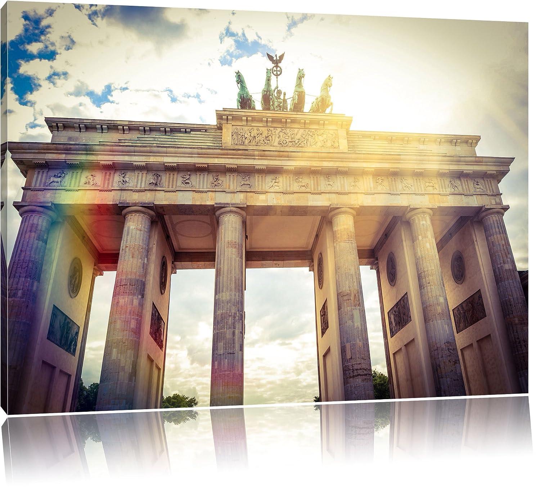 Brandenburger Tor Berlin Deutschland Sehenswürdigkeit Bild auf Leinwand, XXL riesige Bilder fertig gerahmt mit Keilrahmen. Kunstdruck auf Wandbild mit Rahmen. Günstiger als Gemälde oder Ölbild, kein Poster oder Plakat., Format 120x80 c