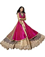 Palli Fashion Women's Pink Embroidered Anarkali Semi-Stiched Dress Material (Pink_Free_Size)