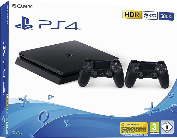 Playstation 4 (PS4) - Consola 500 Gb + 2 Mandos Dual Shock 4 (Edición Exclusiva Amazon) - nuevo chasis F