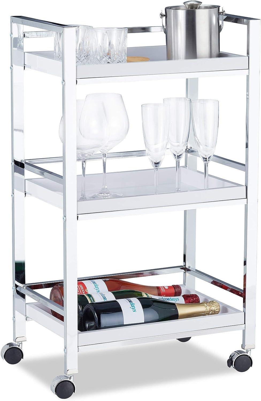 Relaxdays, 77,5 x 45 x 29 cm Camarera con 3 Bandejas Extraíbles, Acero y Plástico, Blanco