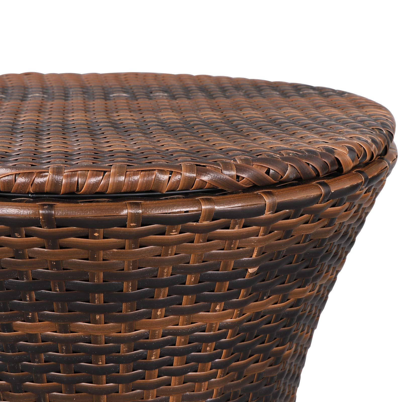 ZENY 5.5 Gallon Cool Bar Rattan Style Patio Pool Cooler Table W/Height Adjustable Top Outdoor Wicker Ice Bucket Cocktail Coffee Table for Party Deck Pool Use, Brown by ZENY (Image #6)