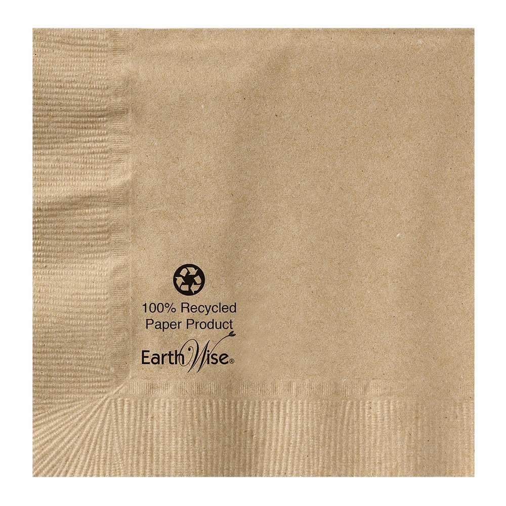 Hoffmaster 180230 Earth Wise Kraft Beverage Napkin, 2 Ply, 1/4 Fold, 10'' x 10'' Natural (Packs of 3000)