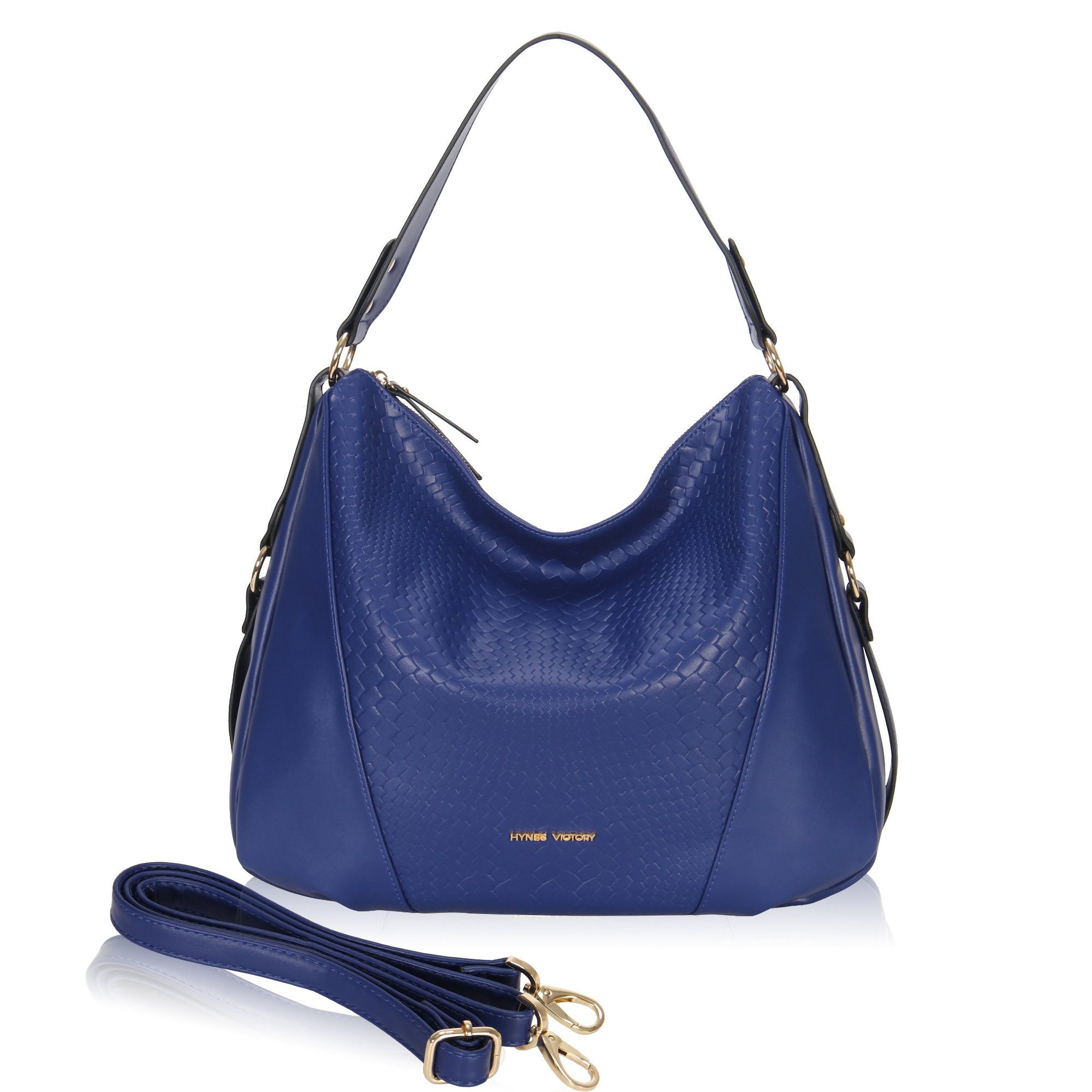 Hynes Victory Woven Pattern Hobo Bag Stylish Hobo Crossbody Bag for Lady Woman Purse Blue