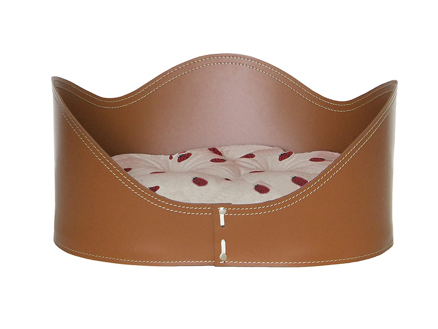 NUVOLA 50  dog bed cat bed basket in leather Brown color with pillow.-Ladybug Fabric