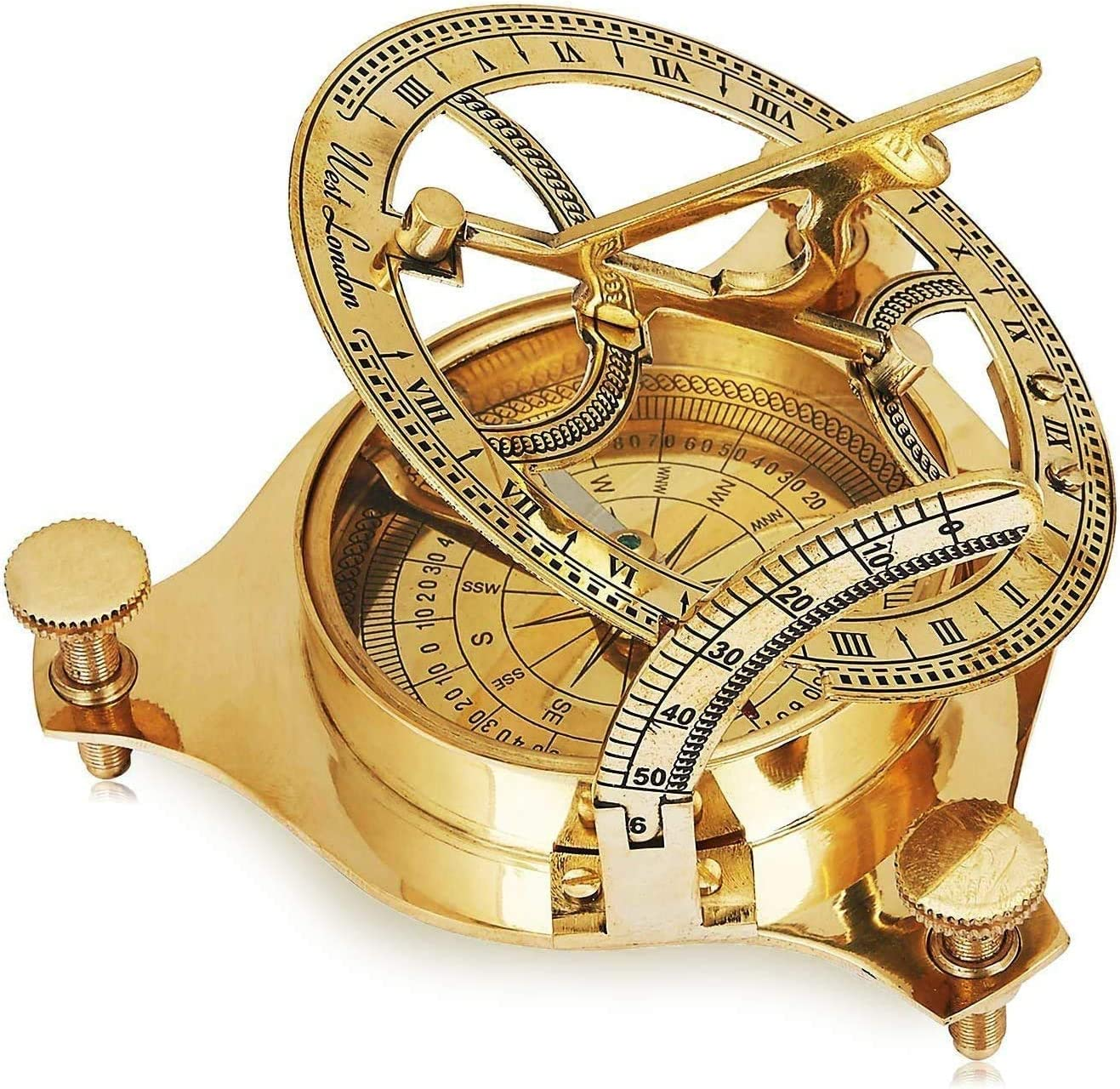 Unique Birthday Gift Ideas Solid Brass Classic Sundial Compass Hiking Climbing Biking Hunting Camping Survival Compass Outdoor Navigation Directional Nautical Liquid Filled Compass Housewarming Gifts
