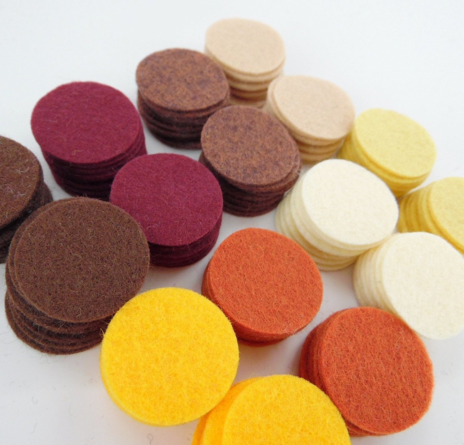128 Wool Blend Felt 1' Circles -Kitchen Spices Colors - Made in USA - OTR Felt