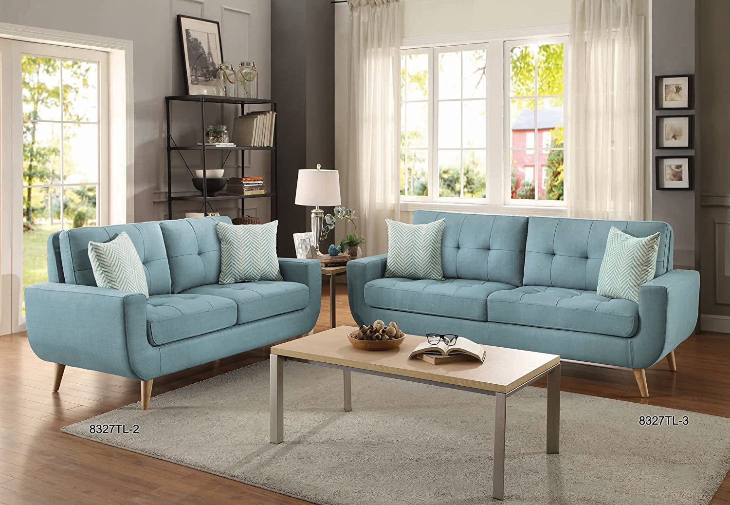 Amazon.com: Homelegance Deryn Mid Century Modern Sofa With Tufted Back And  Two Herringbone Throw Pillows, Teal: Kitchen U0026 Dining