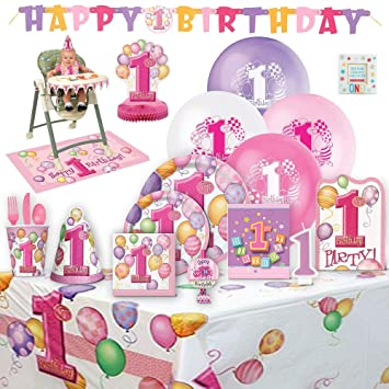 Amazoncom Babys 1st Birthday Party Supplies Girl For 8 Guests
