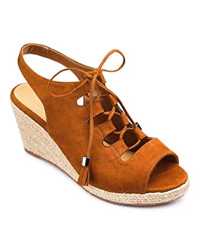 72ea16f59c56 Simply Be Womens Sole Diva Ghillie Tie Wedge E Fit Tan