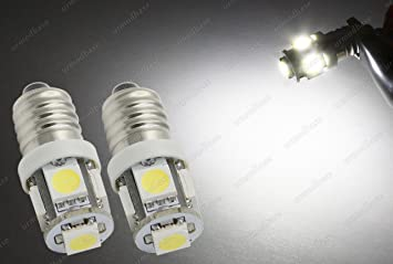 2 bombillas E10 con base de rosca LLB987 MES LED SMD blancas clásicas para focos de moto, 6 V: Amazon.es: Coche y moto