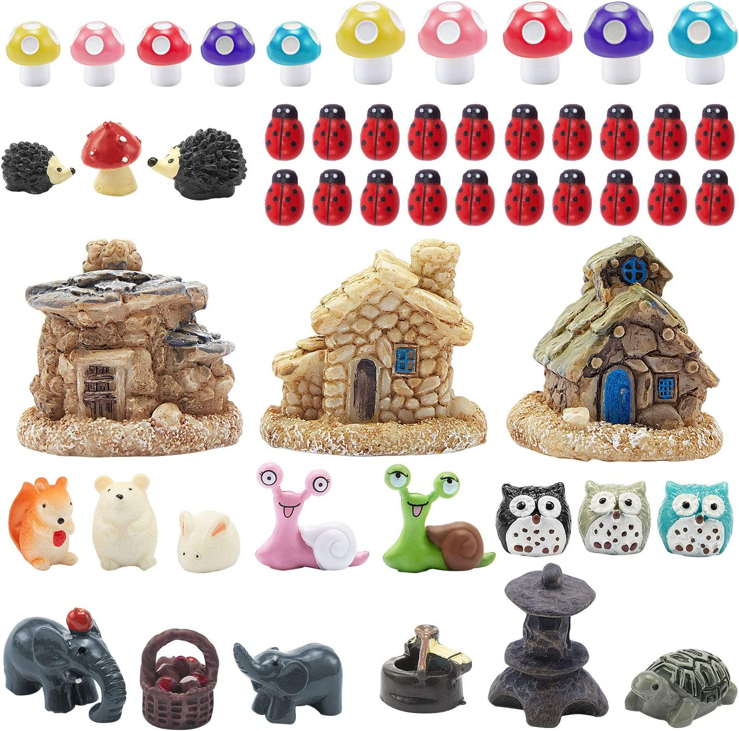 44 Pieces Miniature Fairy Garden Accessories, Including Miniature Fairy Garden House, DIY Dollhouse Ornaments Kits Fairy Garden Decor, Fairy Garden Figurines Fairy Garden Animals for House Decor
