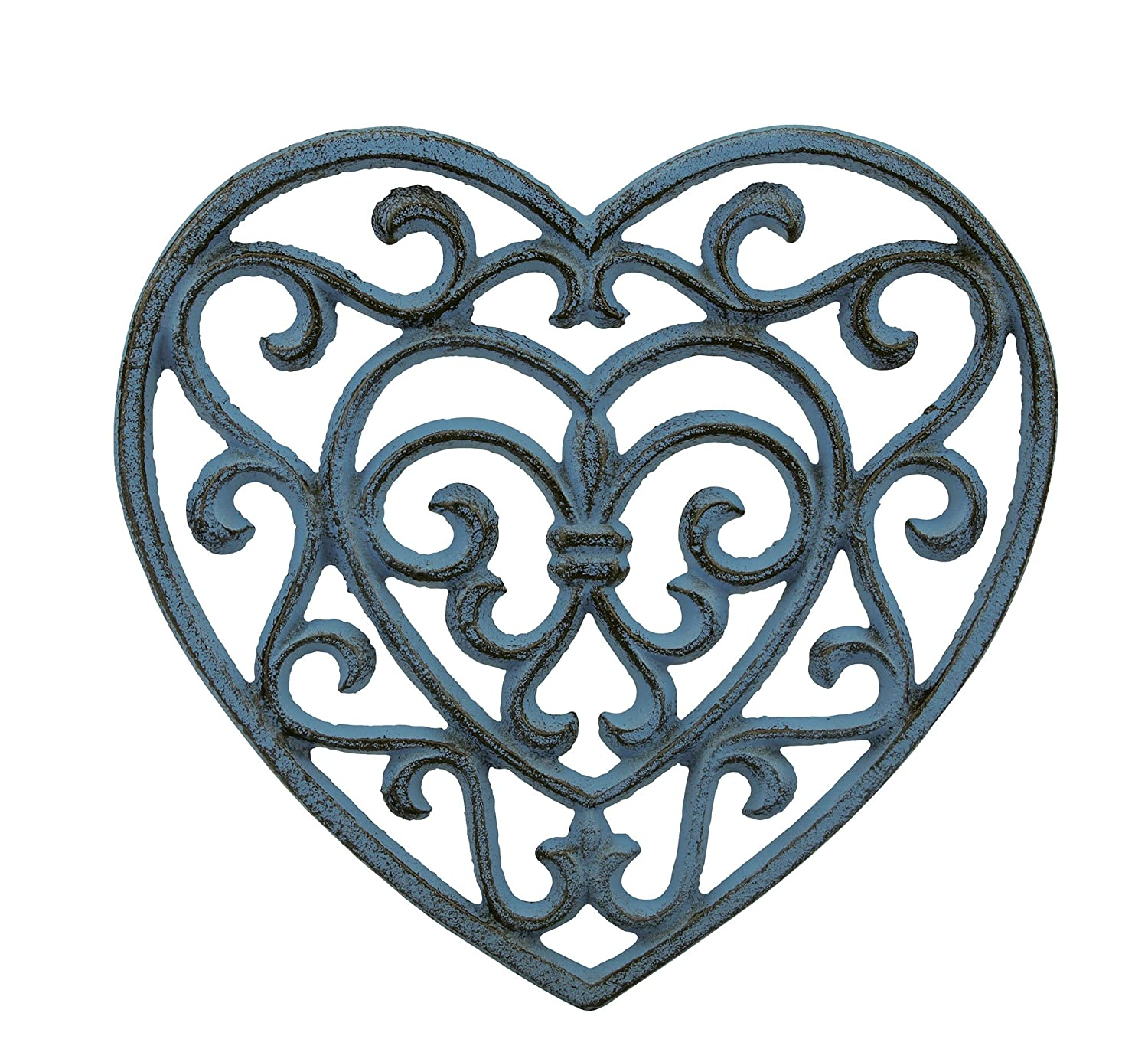 Stonebriar Country Rustic Denim Blue Heart Shaped Cast Iron Trivet with Rubber Feet, Heat Resistant Pot Holder for Hot Dishes, Decorative Kitchen Accessory for Table Top or Wall Hanging CKK Home Décor SB-6039A