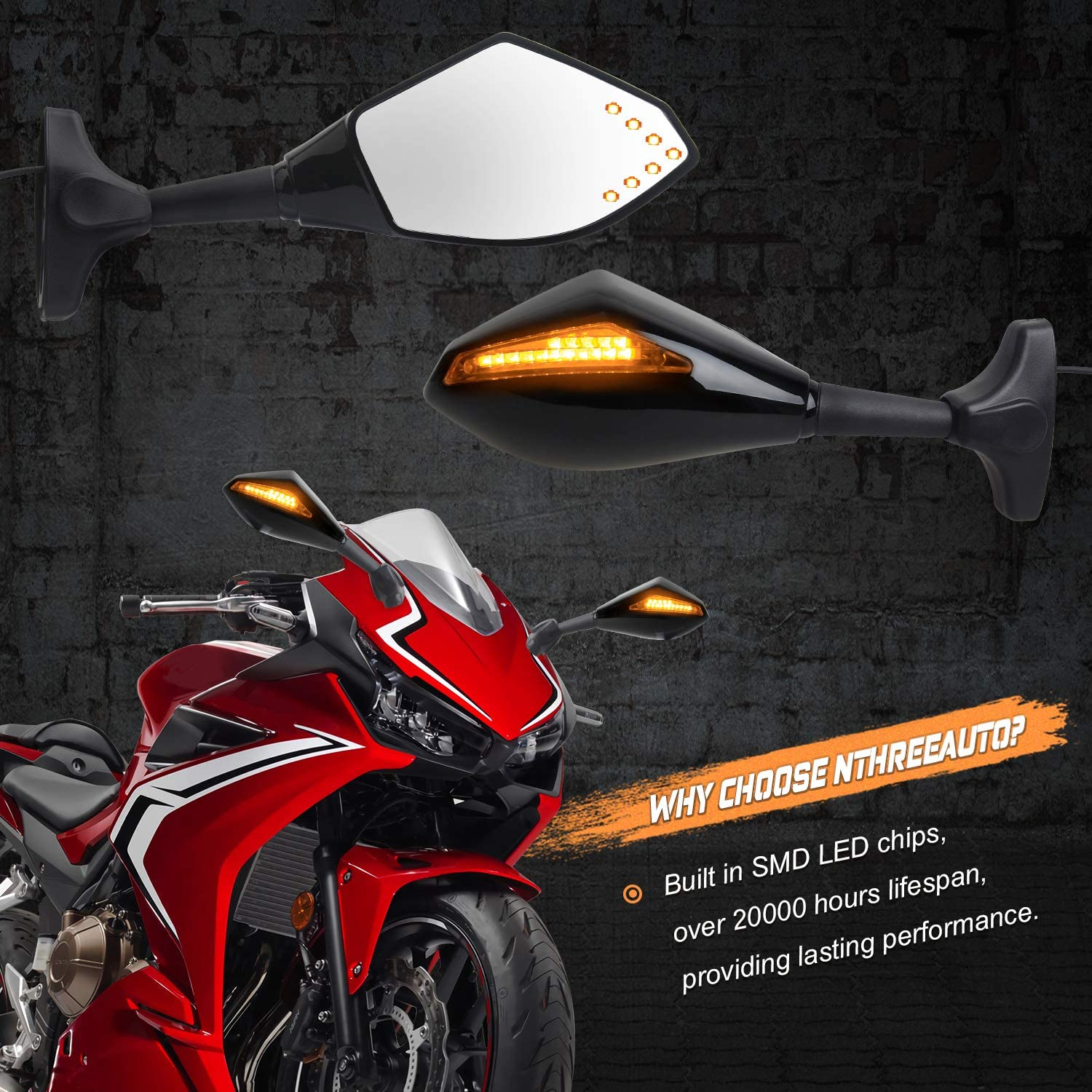 Honda CBR600RR R6 NTHREEAUTO Motorcycle Sway Adjustable Rear Side View Mirrors Integrated with Signal Light Kit Compatible with Suzuki GSXR R6S and Kawasaki ATV Yamaha R1