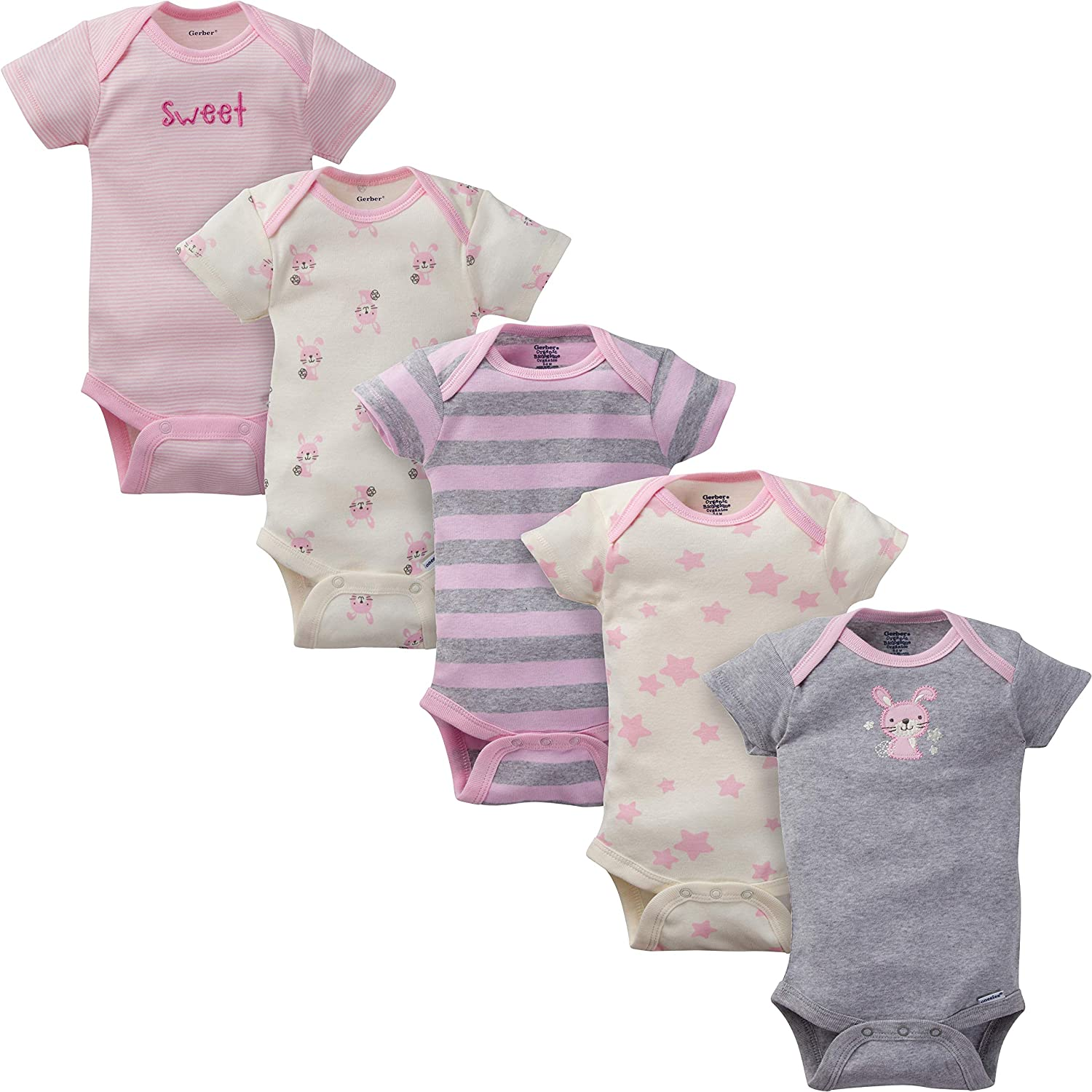 Gerber Baby Girls 5-Pack Organic Short Sleeve Onesies Bodysuits