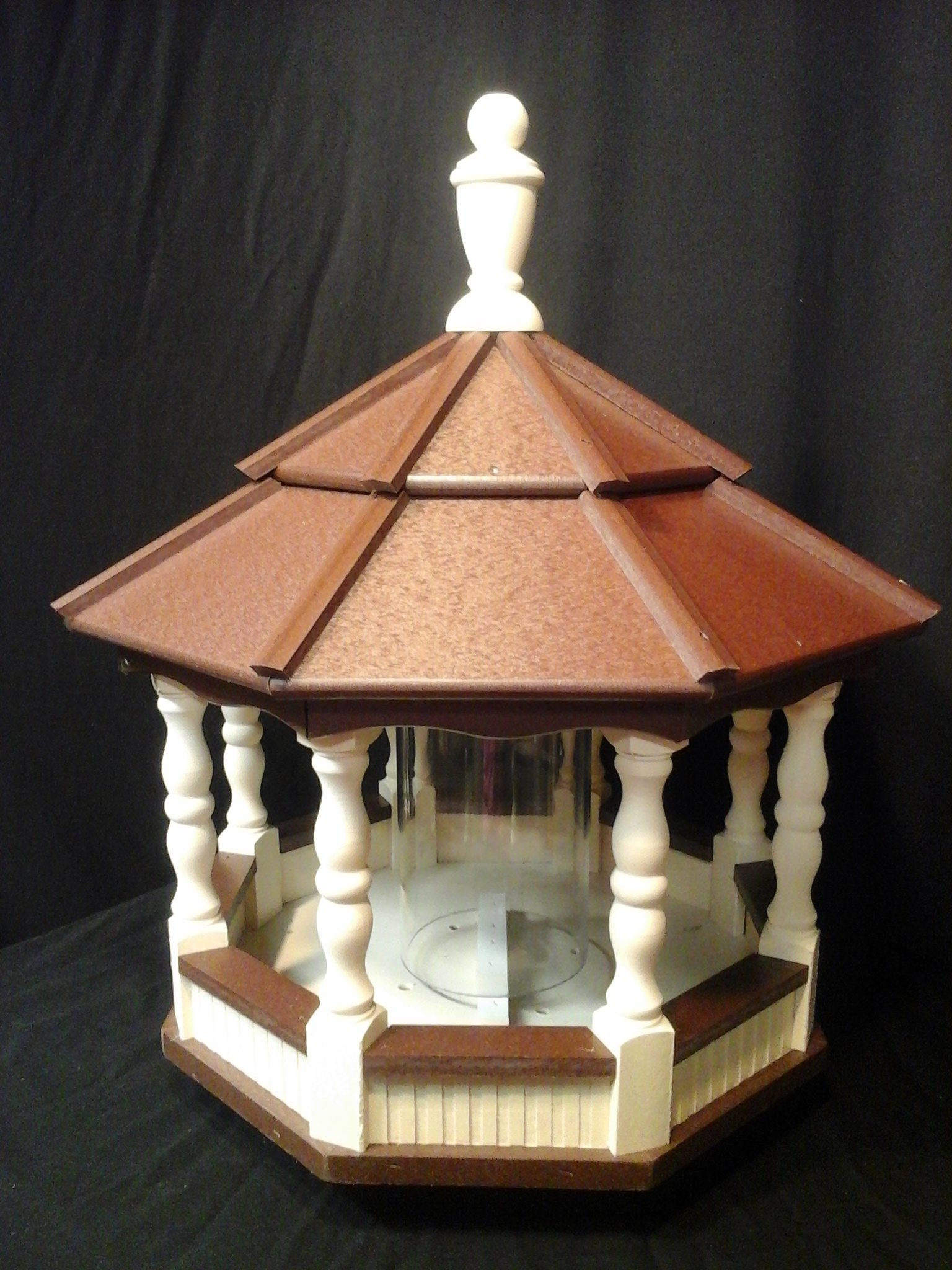 Large Vinyl Spindle Bird Feeder Amish Homemade Handmade Handcrafted Ivory & Brown Roof