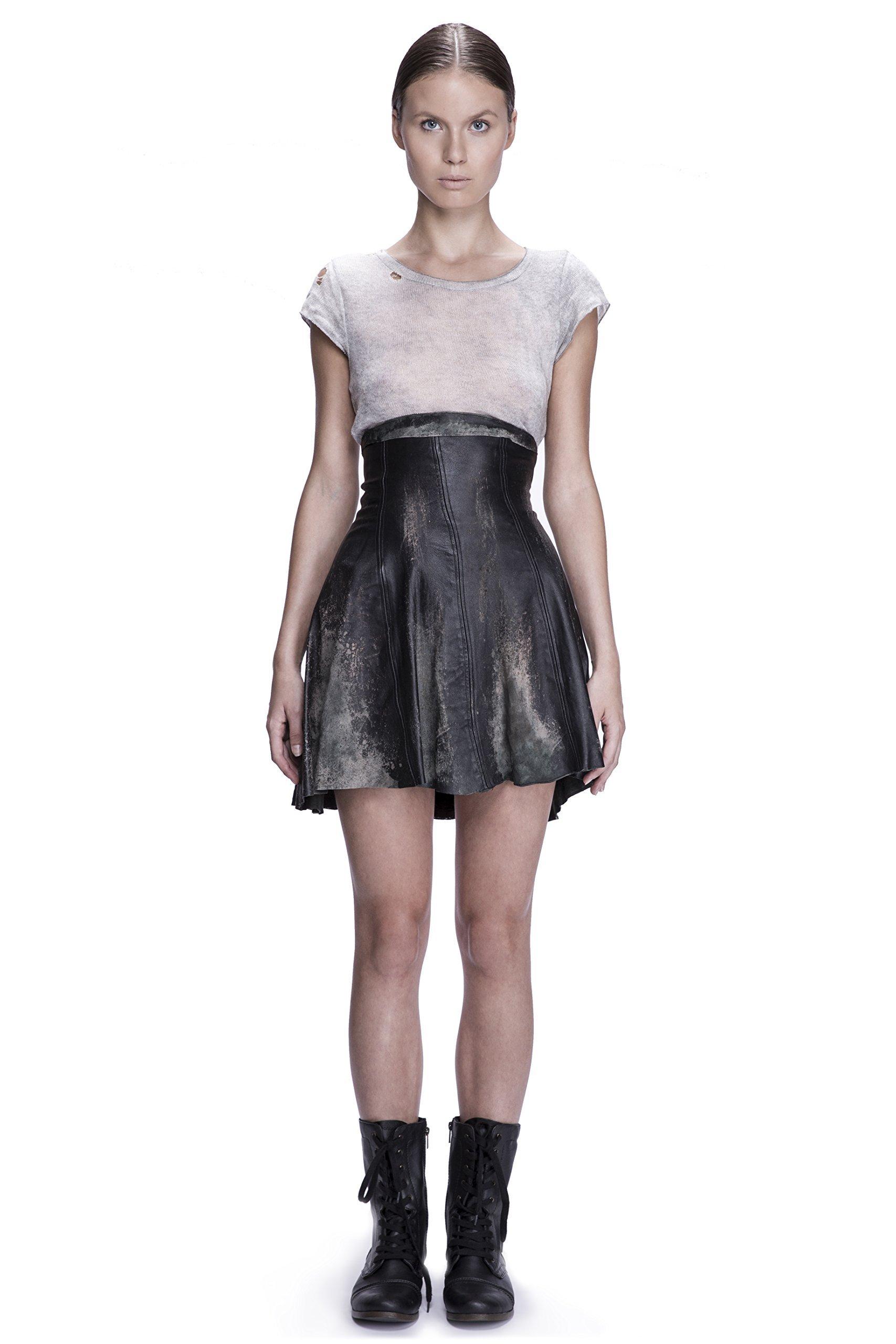 High Waist Acid Wash Skirt by Corvus + Crux