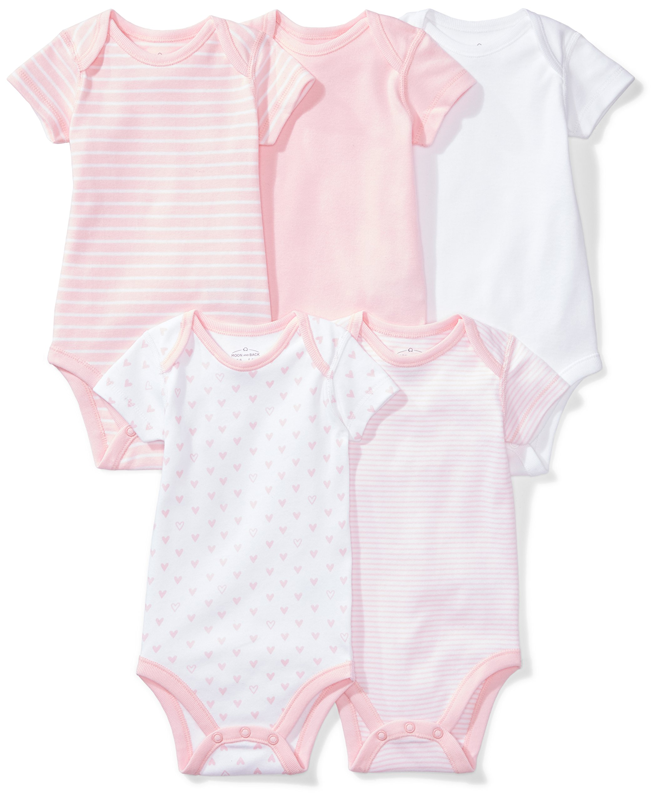 Moon and Back Baby Set of 5 Organic Short-Sleeve Bodysuits, Pink Blush, 3-6 Months