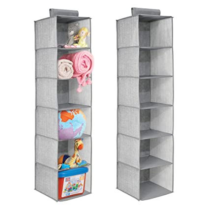 MDesign Long Soft Fabric Over Closet Rod Hanging Storage Organizer 6 Shelves  Child/Kids Room